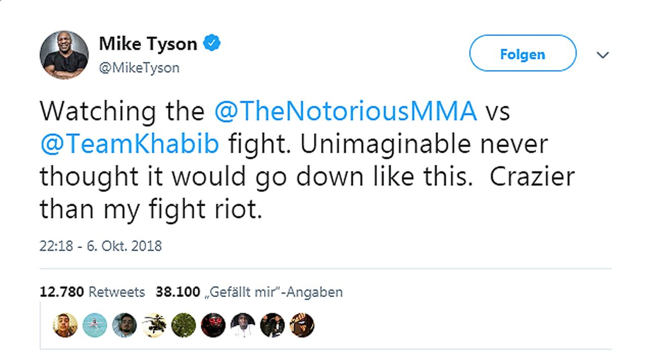 Netzreaktionen zum UFC-Fight Nurmagomedov vs. McGregor - Bildquelle: twitter@MikeTyson