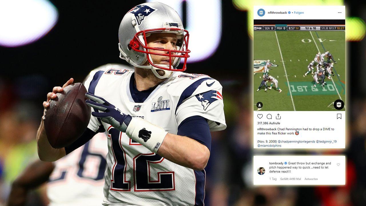 Tom Brady kritisiert Throwback-Play auf Instagram - Bildquelle: Getty/ Instagram@nflthrowback