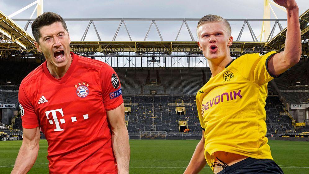 Duell der Torjäger: Robert Lewandowski und Erling Haaland. - Bildquelle: imago images/Sven Simon