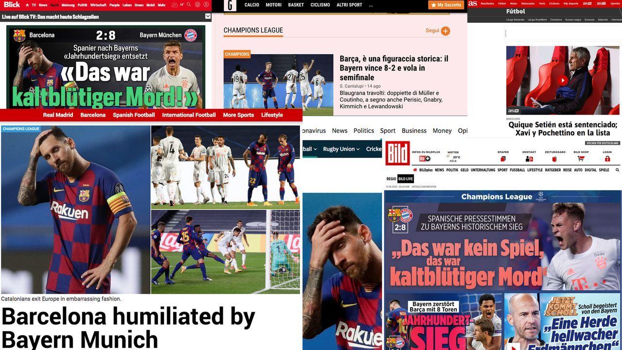 FC Bayern demütigt den FC Barcelona: Die internationalen Pressestimmen - Bildquelle: bild.de / kicker.de
