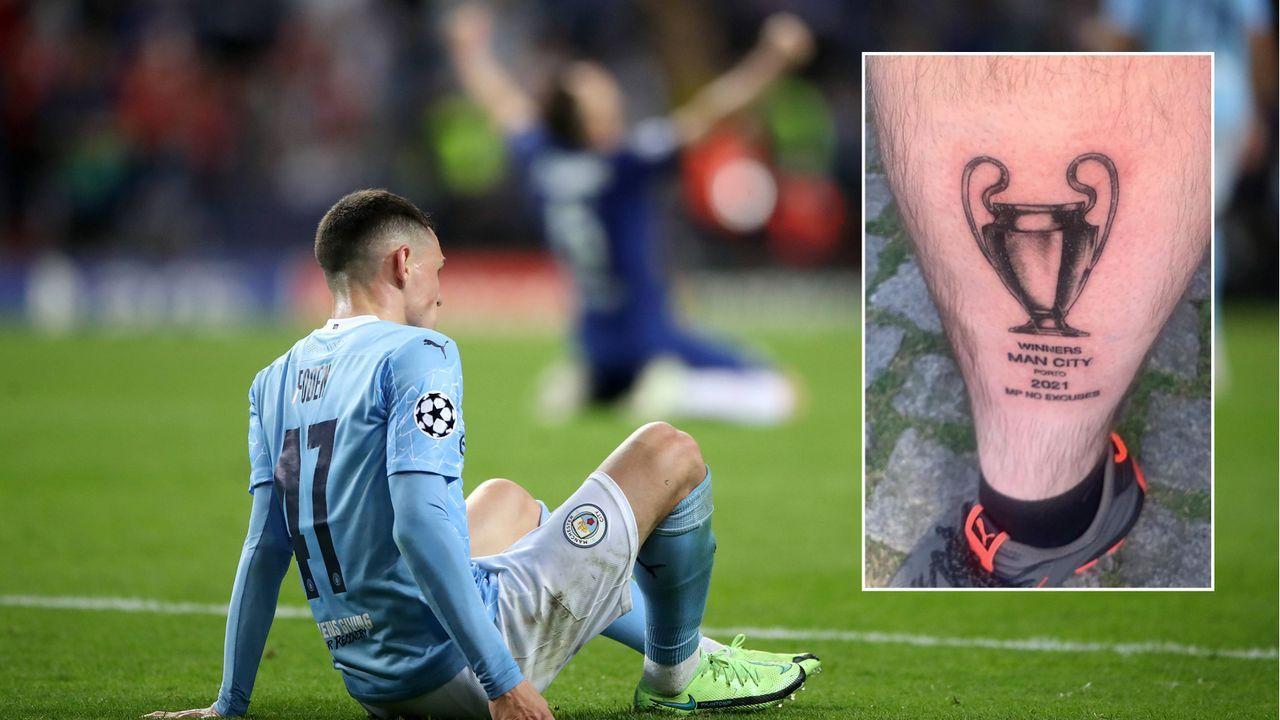 Zu früh gefreut! ManCity-Fan mit Henkelpott-Tattoo vor Final-Pleite - Bildquelle: Imago/twitter@CfcHza