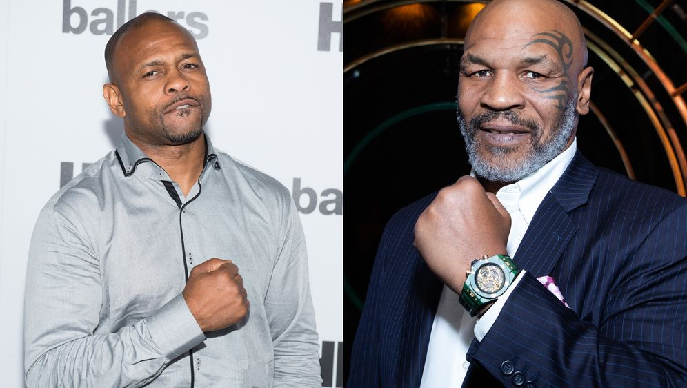 Roy Jones Jr. (li.) und Mike Tyson.