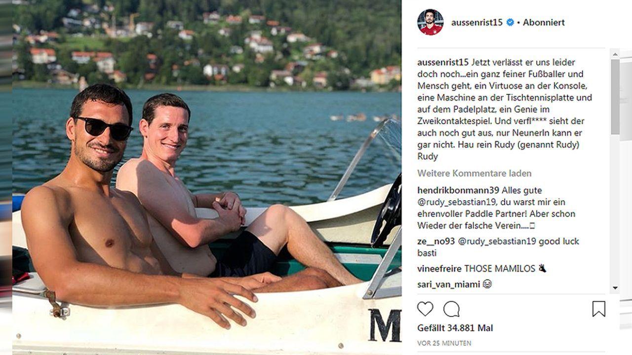 Mats Hummels verabschiedet sich von Sebastian Rudy - Bildquelle: aussenrist15/instagram