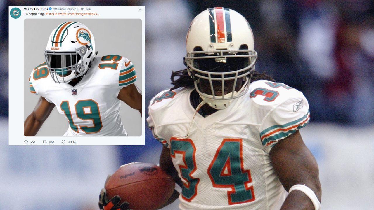 Für Spiel gegen Patriots: Miami Dolphins stellen Retro-Trikot vor - Bildquelle: Getty/ Twitter: @MiamiDolphins