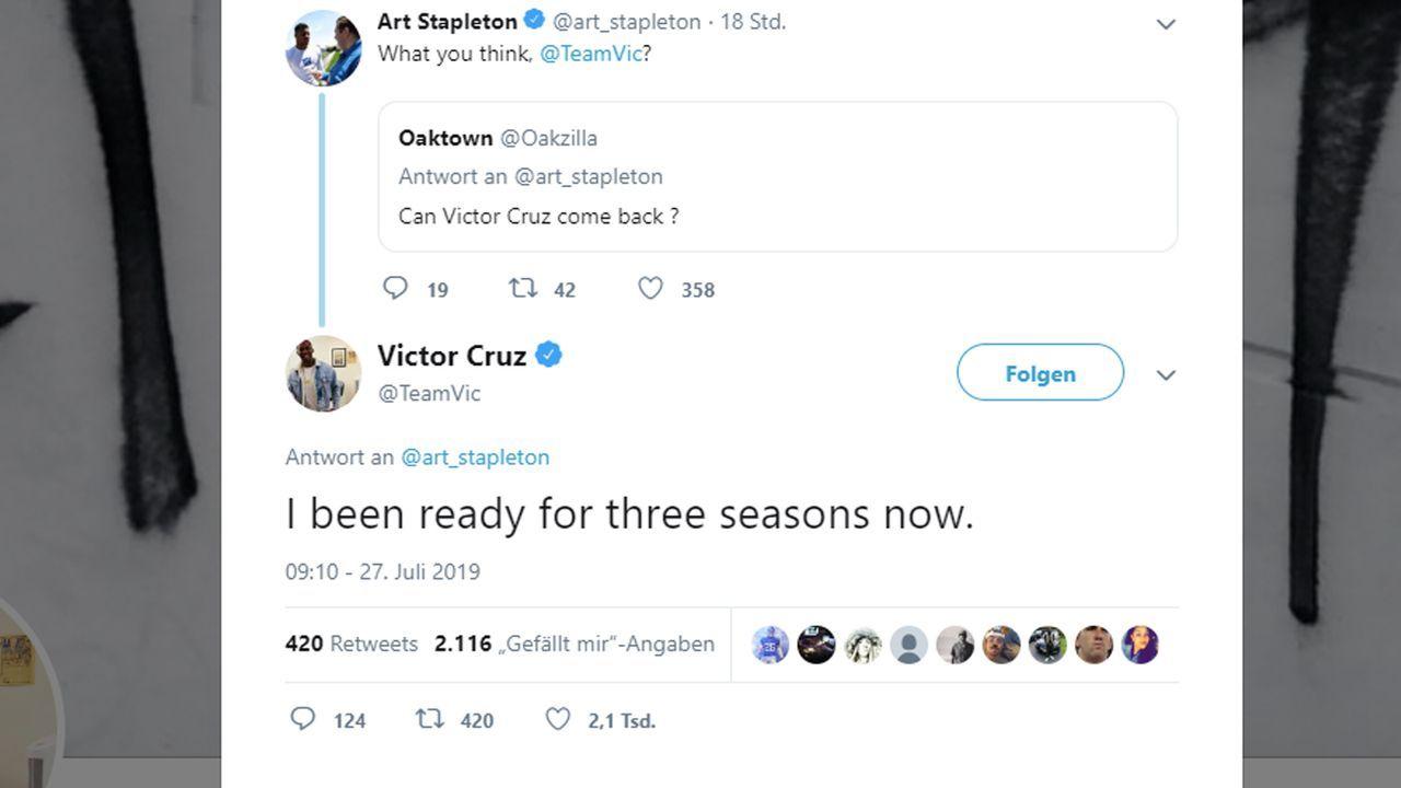 Victor Cruz bietet sich bei den New York Giants an - Bildquelle: Twitter / @art_stapleton @TeamVic