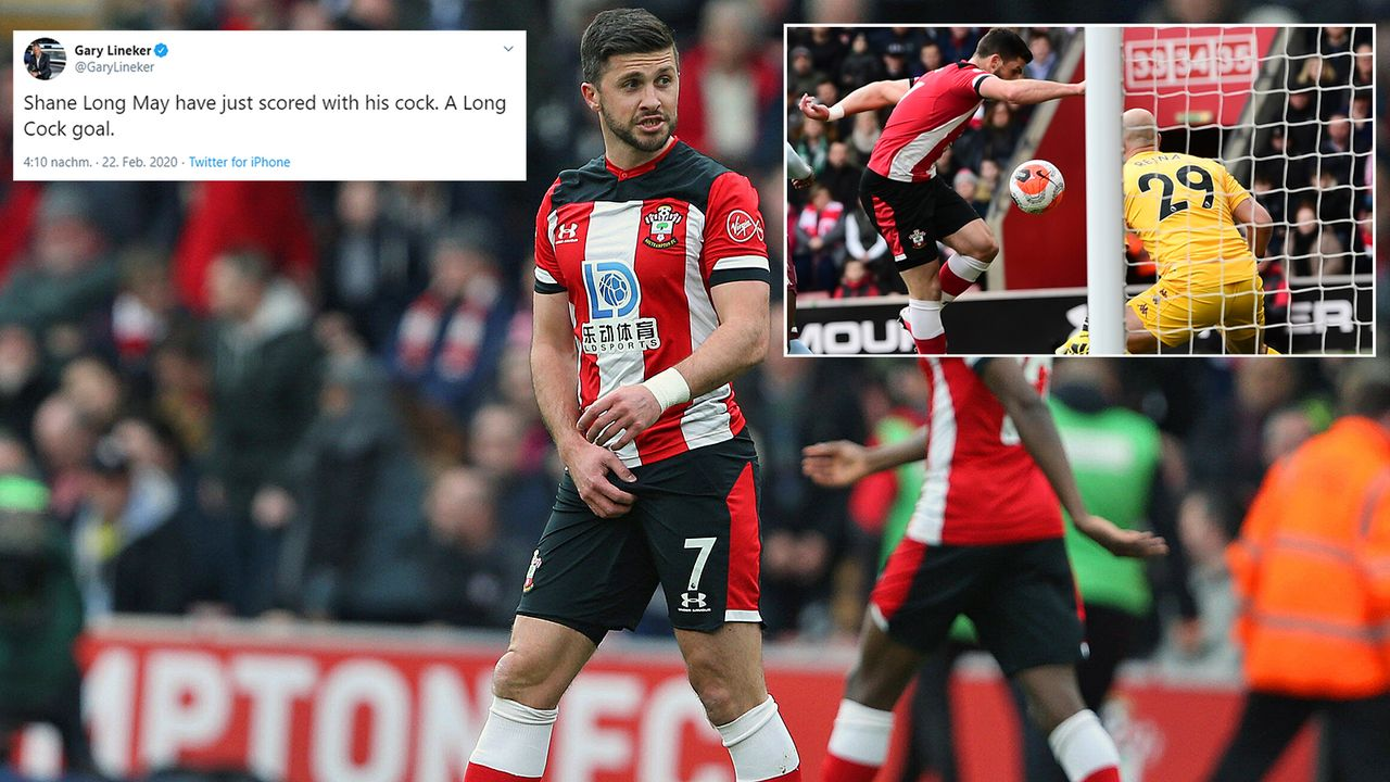 """""""A Long Cock goal"""" - Lineker trollt Southampton-Torschützen Shane Long - Bildquelle: Getty Images/Imago/twitter@GaryLineker"""