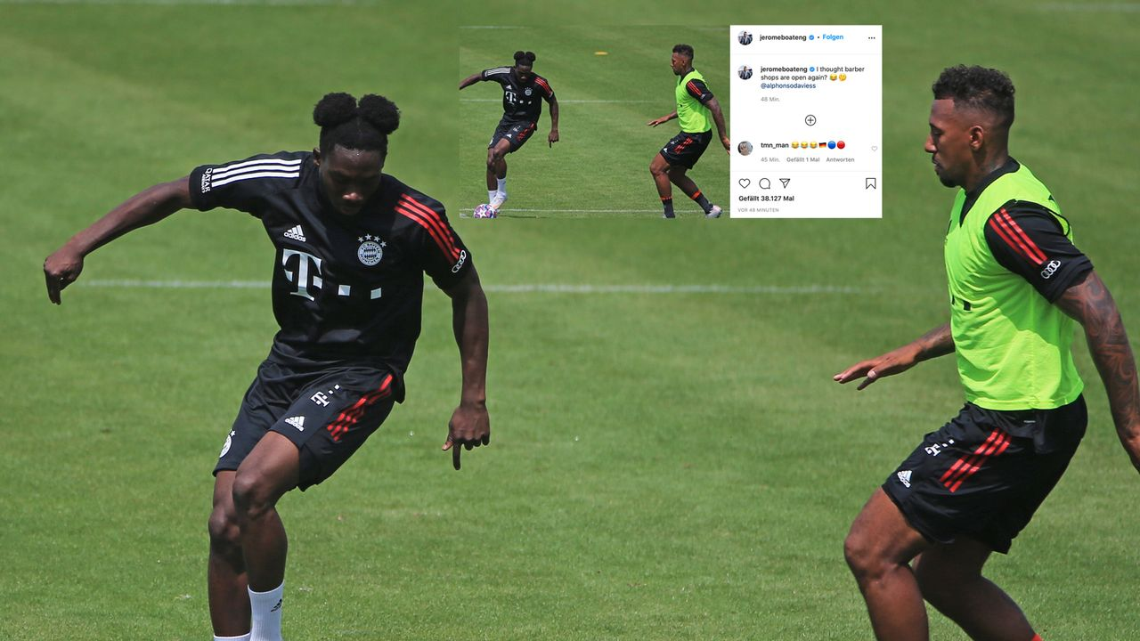 Micky Maus bei den Bayern! Boateng nimmt Davies hoch - Bildquelle: imago images/Philippe Ruiz