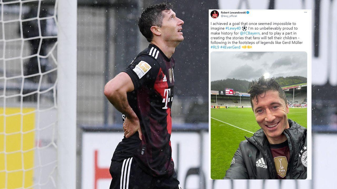 So feiert Bayern-Star Robert Lewandowski seine 40-Tore-Marke - Bildquelle: Imago/twitter@lewy_official