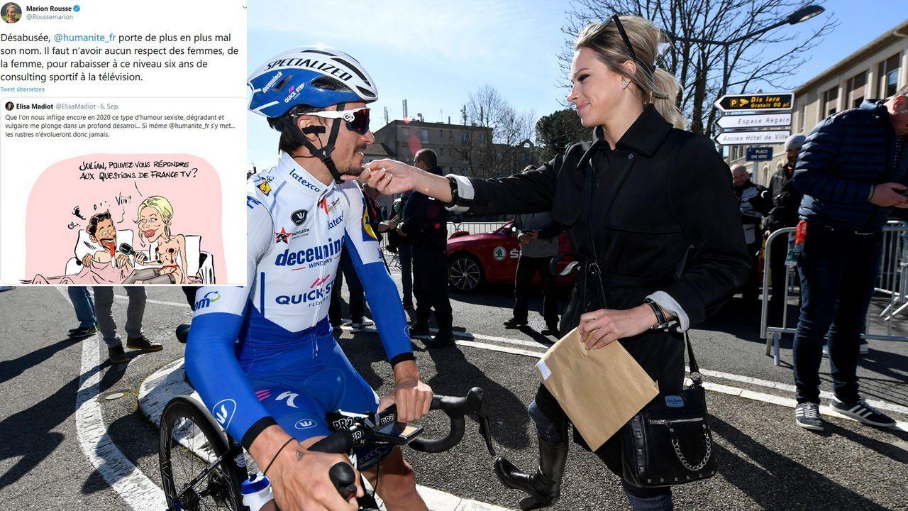 Karrikatur zum Liebespar Marion Rousse und Rad-Star Julian Alaphilippe - Bildquelle: Imago / twitter.com/Roussemarion
