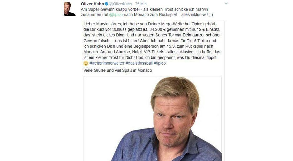 Oliver Kahn schickt Pechvogel nach Monaco - Bildquelle: twitter/qoliverkahn