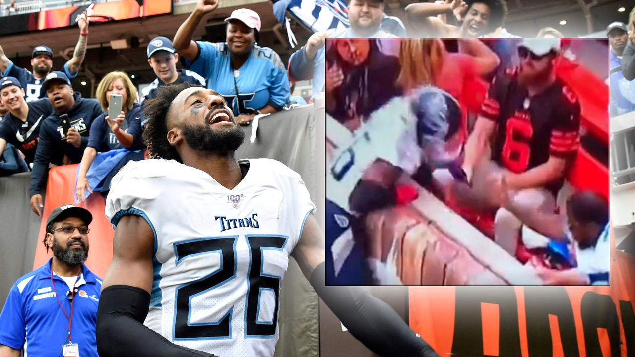 Browns sperren falschen Fan nach Bierdusche gegen Titans-Spieler - Bildquelle: Getty Images / twitter @jwyattsports