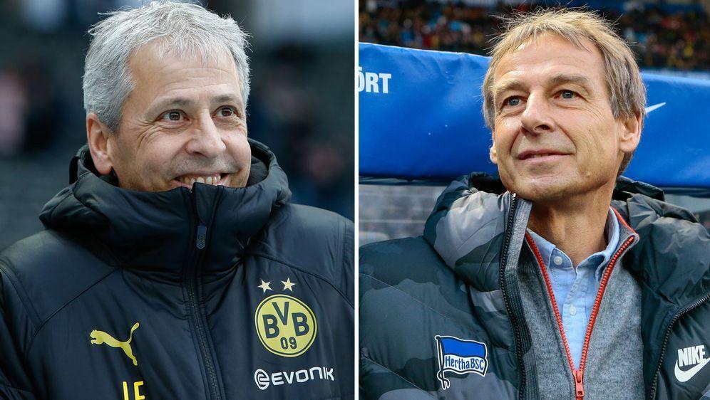 Aufeinandertreffen in Berlin: Lucien Favre (l.) trat mit Borussia Dortmund b... - Bildquelle: imago