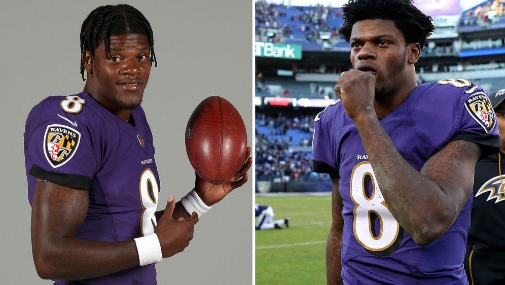 Wir sehen zweimal dieselbe Person: Lamar Jackson in seiner Rookie-Saison (r.... - Bildquelle: Getty Images