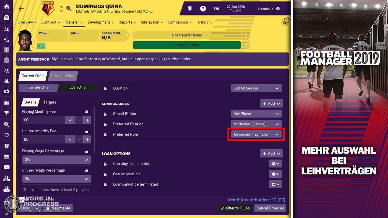 Mehr Optionen in Leihverträgen - Bildquelle: Twitter @FootballManager / SEGA